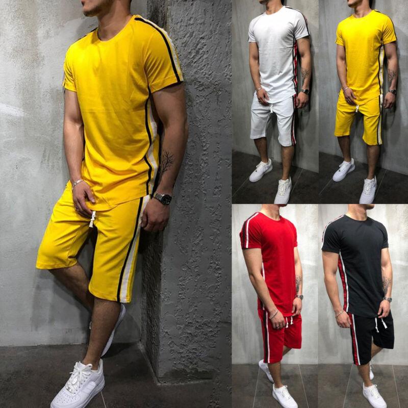Men Tracksuit Short Sleeve T-shirt Shorts Pants Set Jogging
