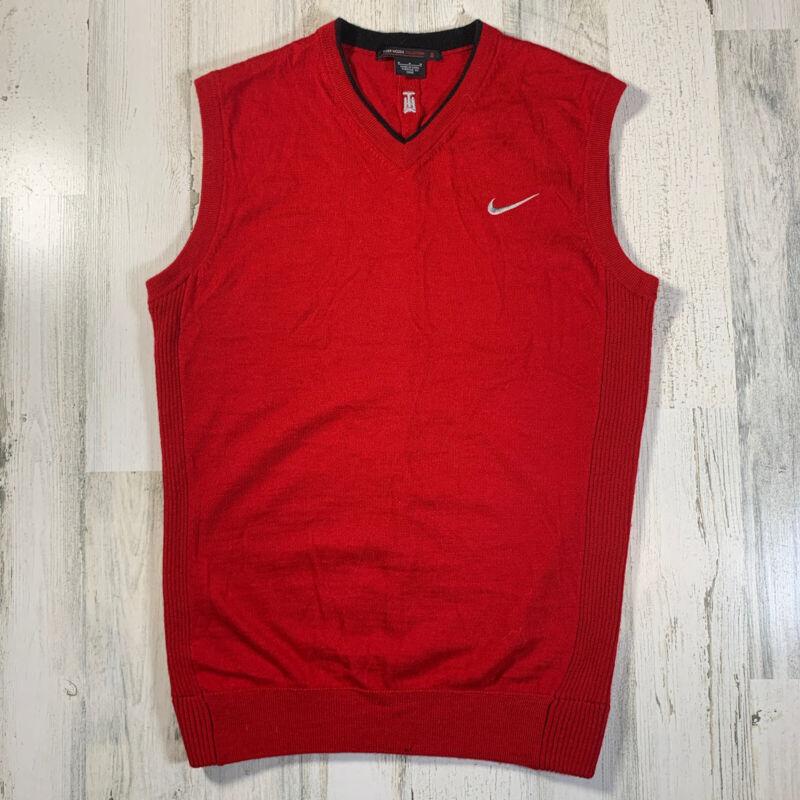 Nike Tiger Woods Collection Merino Wool Sweater Vest Red V-Neck Men's M