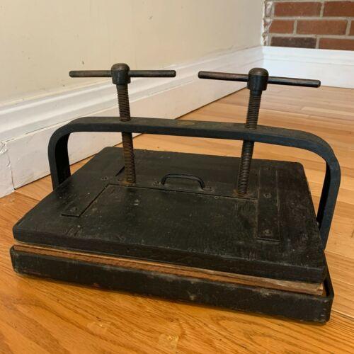 Vintage Antique Cast Iron Wood Black Book Press AAMEL Product Los Angeles