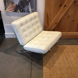 White leather Barcelona chair