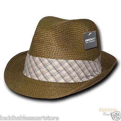 n Gewebt Fedora Fedoras Trilby Panama Mode Hüte Braun (Fedoras Hüte)