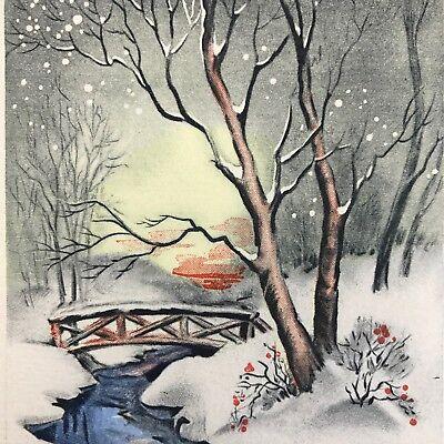 Vintage Art Deco Steel Engraved Vintage Christmas Greeting Card Snowy Winter
