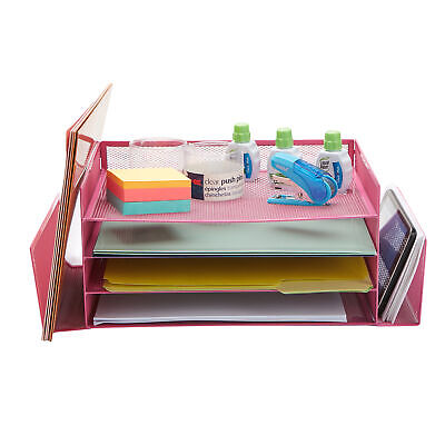 Mind Reader Desk Organizer With 6 Compartments For Pens Mail Magazines Etc Pink
