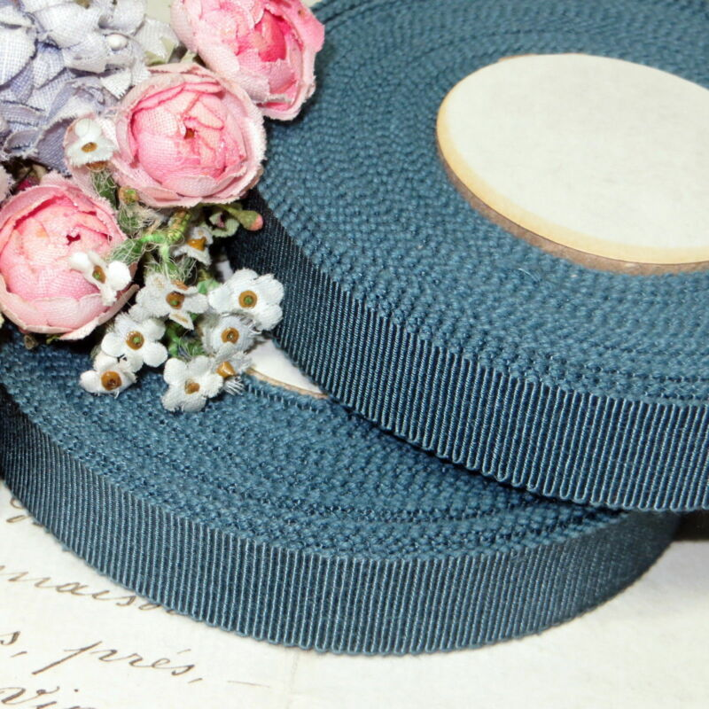 10y FRENCH TEAL BLUE SPOOL VTG PETERSHAM RIBBON TRIM MILLINERY HAT FLOWER WORK