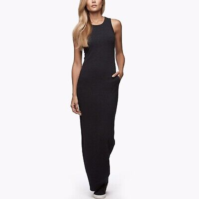 James Perse Black Sleeveless Pocket Maxi Dress In Charcoal Size 0 XS