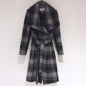 BCBGeneration - Grey/Black wool plaid coat