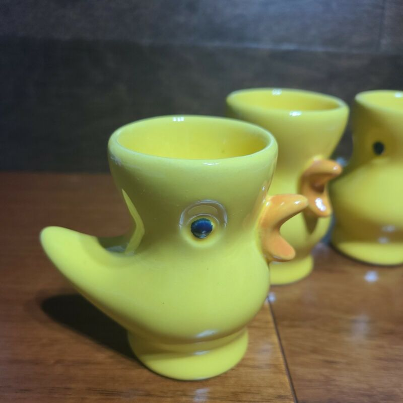 Vintage Ceramic Yellow Bird Chicken Egg Cup Holder Egg Cup Yellow Baby Chick 3