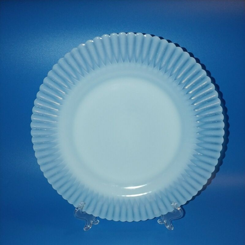 "Macbeth Evans Petalware Monax White Ring Base 9.25"" Inch Dinner Plates Set Of 4"