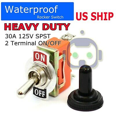 Toggle Switch Heavy Duty 20a 125v Spst 2 Terminal Onoff Car Waterproof Atv