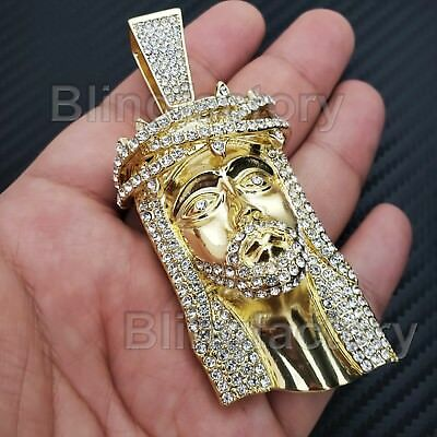 Hip Hop Bling Pendant (HIP HOP ICED OUT 14K GOLD PLATED BLING LAB DIAMOND LARGE JESUS HEAD)
