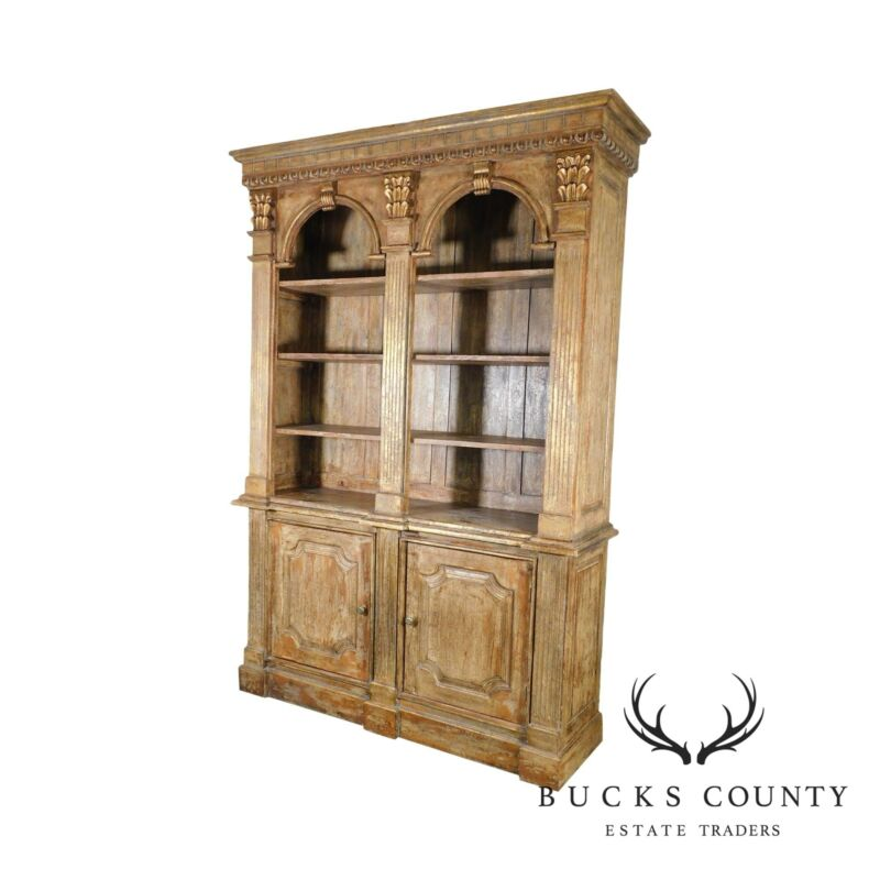 Continental Style Double Arch Painted Architectural Bookcase