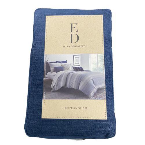 """Ellen Degeneres ED Jaspe Euro Pillow Sham Denim Blue NIP 26×26"""" Bedding"""