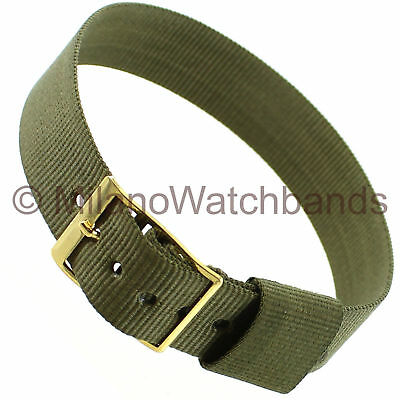 16mm Milano Olive Green Nylon Gold Tone Buckle Sports Strap Wrap Watch Band ()