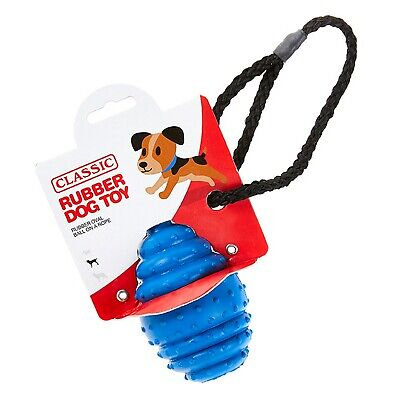 Blue Large Solid Tough Hard Rubber Dog Rope Oval Ball Fetch Toys- Classic