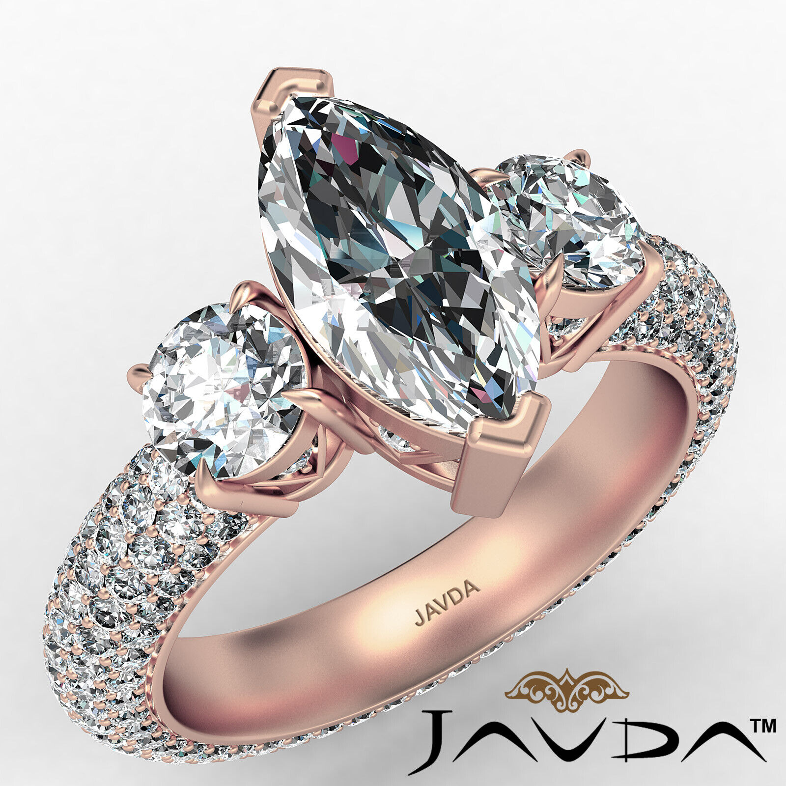 Marquise Diamond Engagement Pave Set Ring GIA K Color & VVS2 clarity 3.05 ctw 2