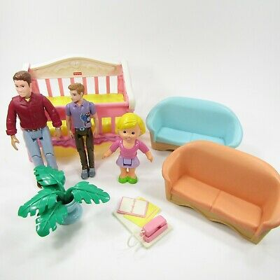 Vintage Fisher Price Dollhouse Furniture Lot People Loving Family Dad Mom Crib