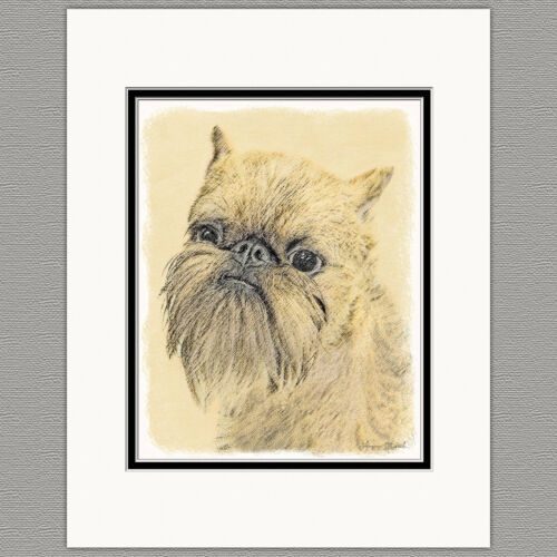 Brussels Griffon Bruxellois Rough Original Art Print 8x10 Matted to 11x14