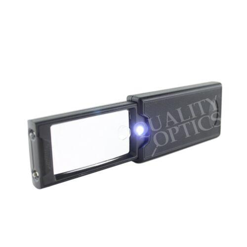 Slide Pull Out Pocket Magnifier 3 Function Led & UV Black Light Wide View Loupe