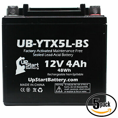 5x Battery for 2004 - 2012 Polaris Predator, Outlaw 50CC