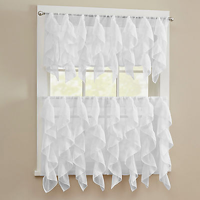 Sheer Voile Vertical Ruffle White Window Kitchen Curtain Tiers or Valance