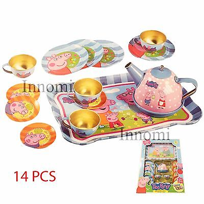 Peppa Pig Tea Party Gorgeous 14 Pcs Kit Teapot Cups Dish Platter Playset Toy Set