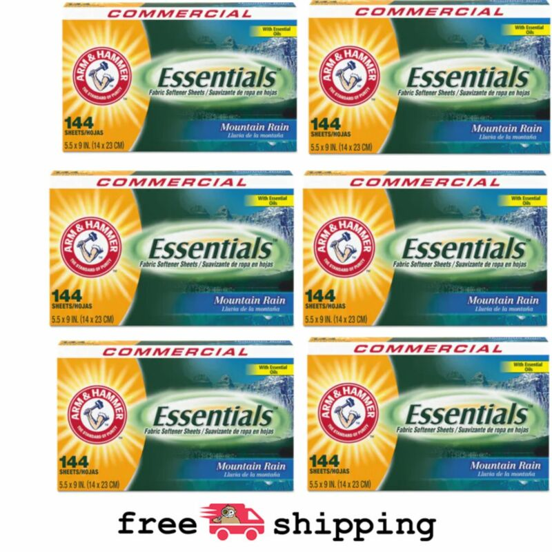 Arm & Hammer Fabric Softener Dryer Sheets, Mountain Rain 144 Sheets ( 6 Boxes)