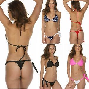 bikini brasiliano set donna costume da bagno regolabile