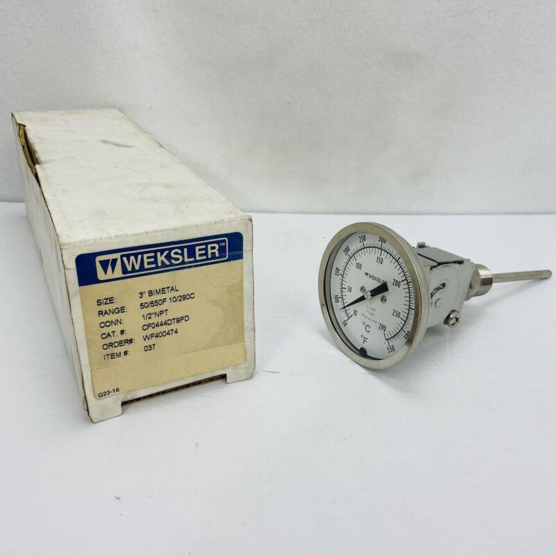 "Weksler CF0444DT9PD (WF400474) 3"" Bimetal Thermometer 50-550 Degrees 1/2"" NPT"