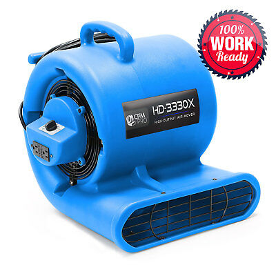 Carpet Dryer Air Mover 3 Speed 13 Hp Blower Fan Gfci Outlets - Industrial Blue