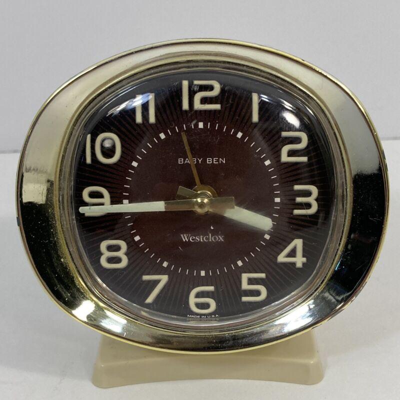 Vintage Westclox Baby Ben Wind Up Alarm Clock Glow in the Dark