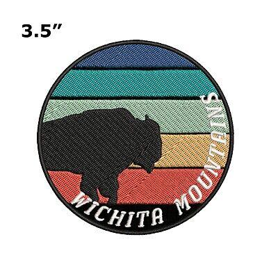 Wichita Mountains Buffalo Embroidered Patch Iron / Sew-On Souvenir Gear Applique