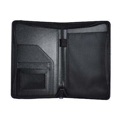 Pu Leather A5 Zippered Business Portfolio Folder Case Organizer Card Holder V3d7
