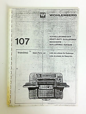 Wohlenberg Spare Parts List Book 107 In English German French And Spanish