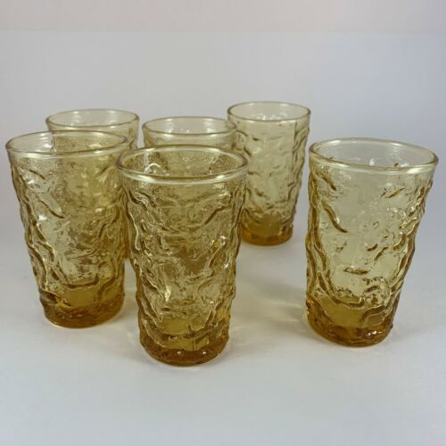 6 Vintage Anchor Hocking Lido Milano Amber Gold Juice Glasses