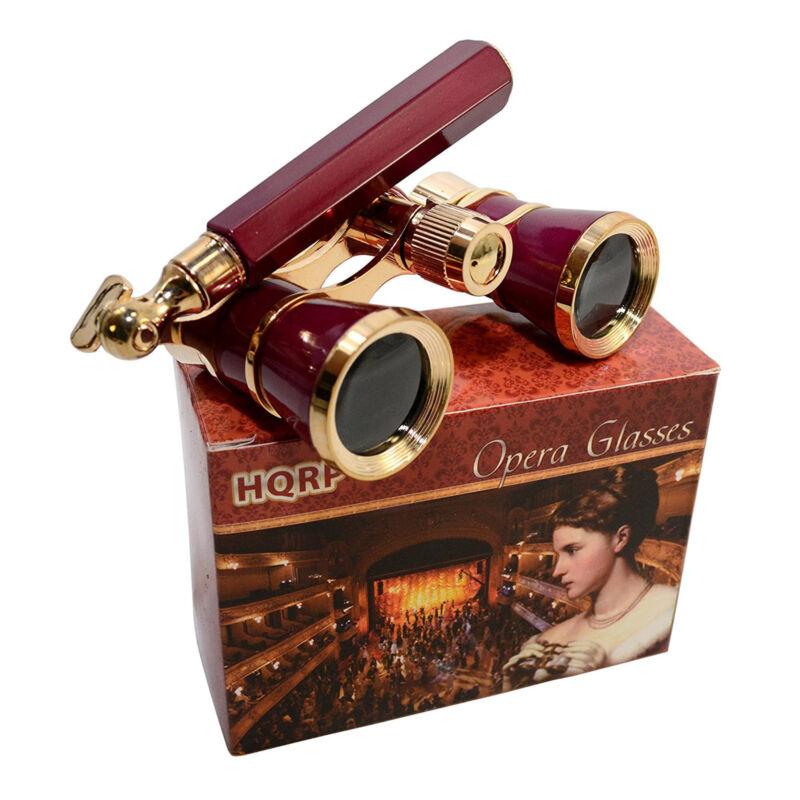 HQRP Opera Glasses Binocular 3 x 25 Crystal Clear Optic CCO Burgundy with Handle