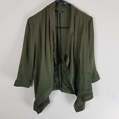 Maurices asymmetrical open front cardigan green rayon S satin trim 3/4 sleeve