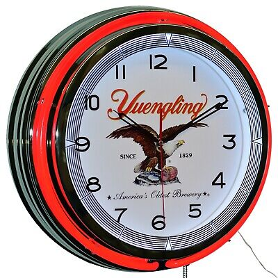 "19"" Yuengling Beer America's Oldest Red Double Neon Clock Man cave Garage Bar"
