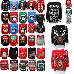 Mujer-Hombre-Jersey-Novedad-Navidad-knitwea-Rudolph-Pinguino-retro-jersey