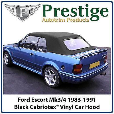 Ford Escort Cabriolet MK3/4 Car Hood Hoods Soft Top Tops Black Vinyl