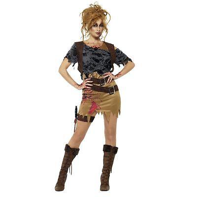 Womens Zombie Hunter Costume (Adult Ladies Deluxe Zombie Hunter Raider Lara Tomb Fancy Dress Halloween)