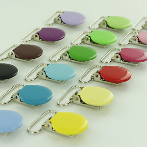 10-Enamel-Pacifier-Clips-Suspender-Clip-1-INCH-Round-Metal-Dummy-Paci-Holder
