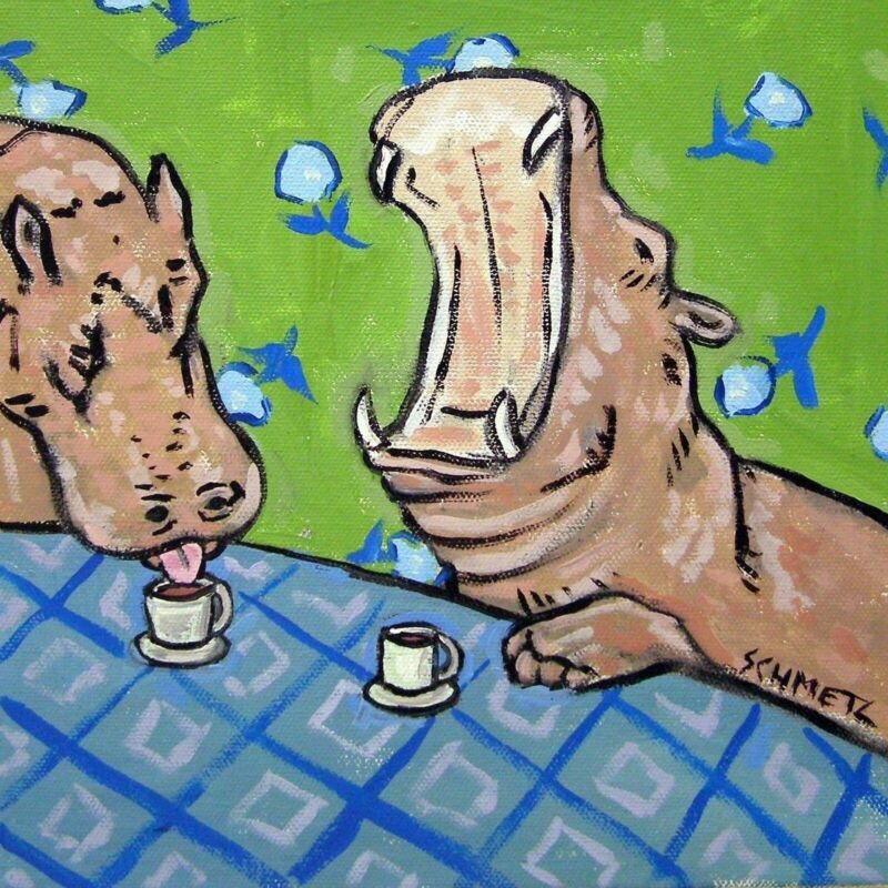 hippopotamus coffee cafe picture animal hippo art tile gift