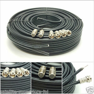 50m Black Twin Satellite Shotgun Extension Coax Cable Lead 4 Sky Plus HD Freesat