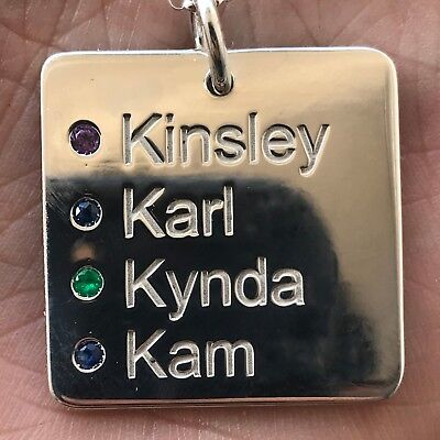 Custom Name Dog Tags With Birthday and Birthstones- 14 K White Gold - White Gold Dog Tags