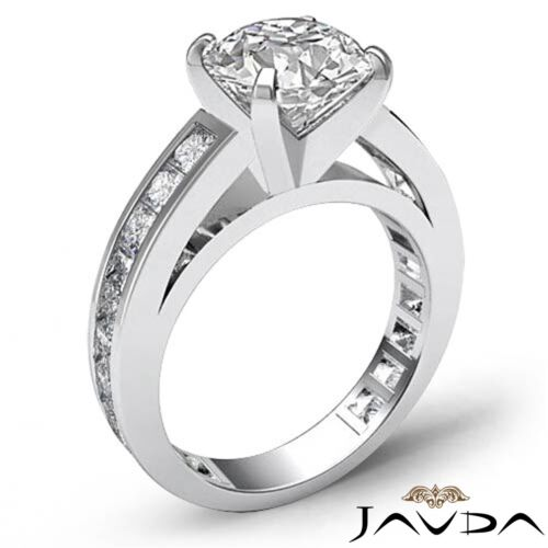 Round Brilliant Diamond Engagement Channel Ring GIA F SI1 14k White Gold 2.7ct 1