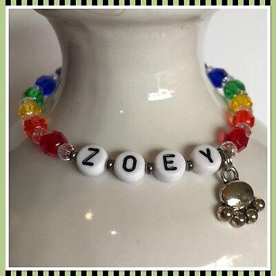 Rainbow Bridge Memorial Pet Loss CAT  Or DOG  Personalized Stretchy Bracelet