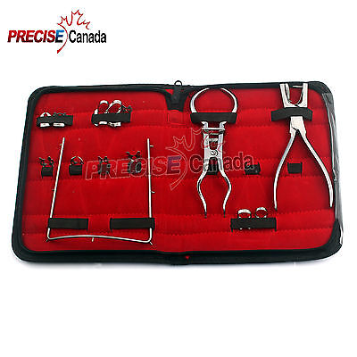 Dental Winged Clamps Forceps Brewer Ainsworth Frame Rubber Dam Kit Of 14 Pcs