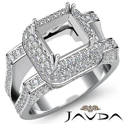 Halo Pave Diamond Engagement Filigree Ring 1.75Ct 14k W Gold Princess Semi Mount