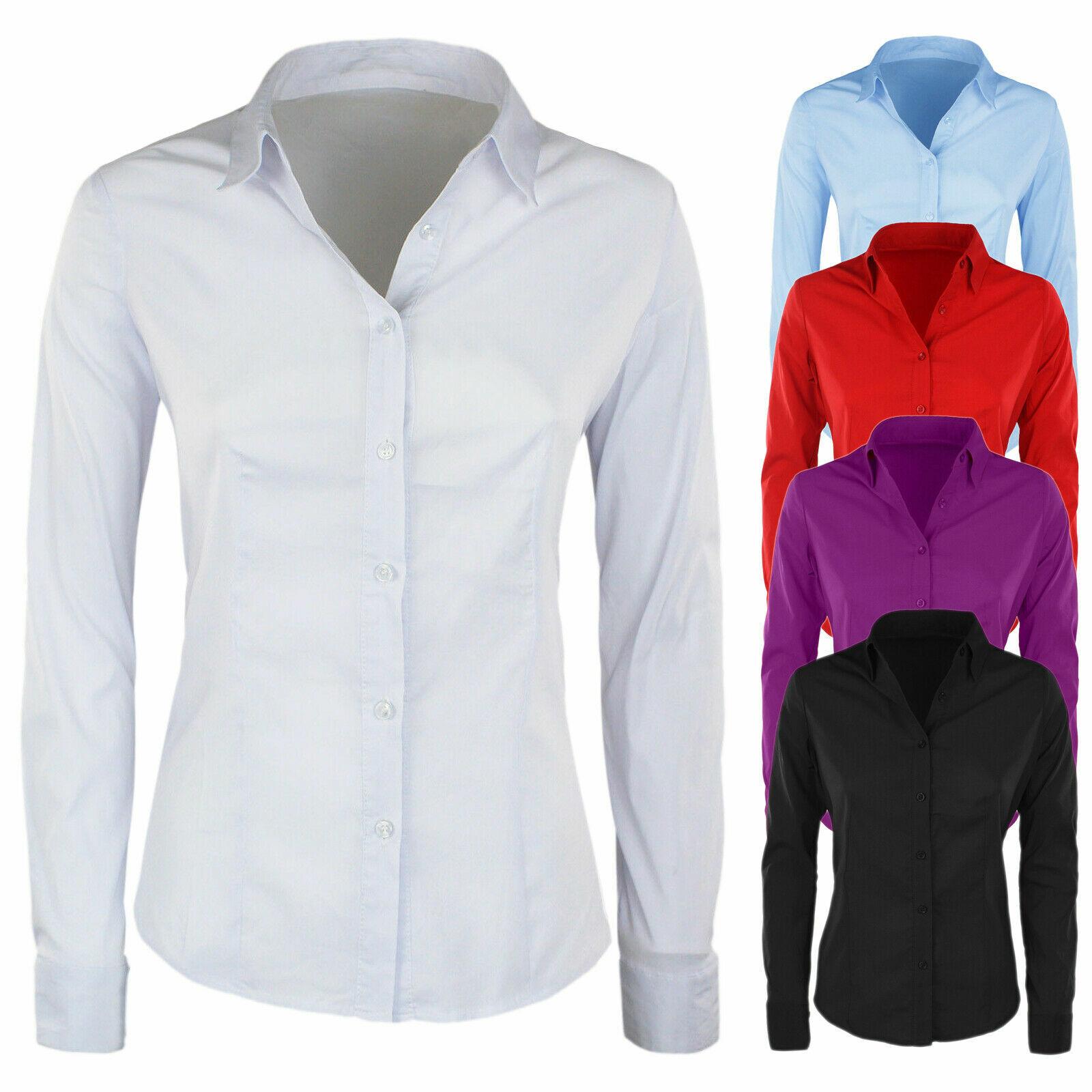 Camicia Donna Slim Fit Manica Lunga Aderente Camicetta Cotone Casual Vari Colori