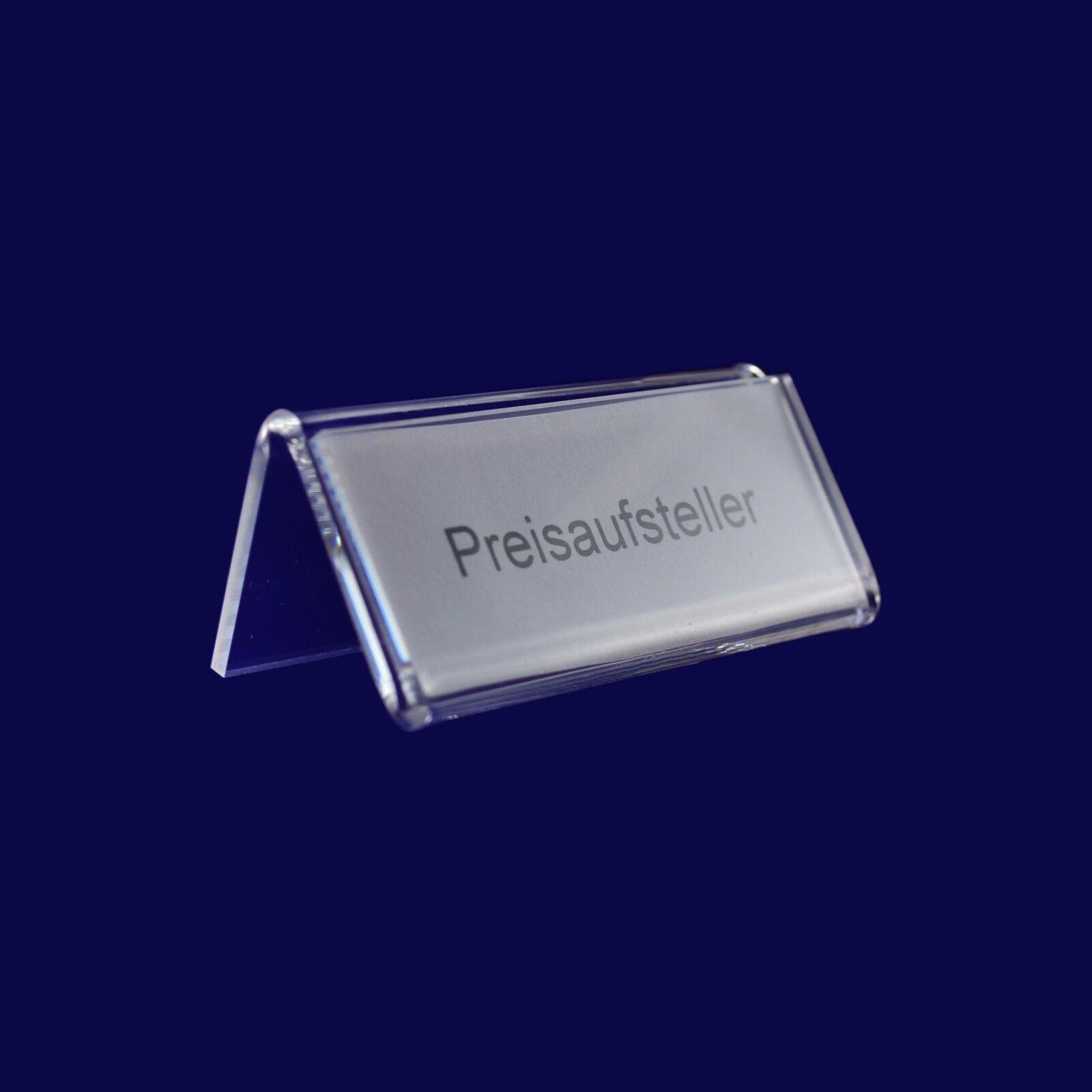 Preisaufsteller N , 10 Stück, Preisschild, Aufsteller, Display, Grünke Acryl